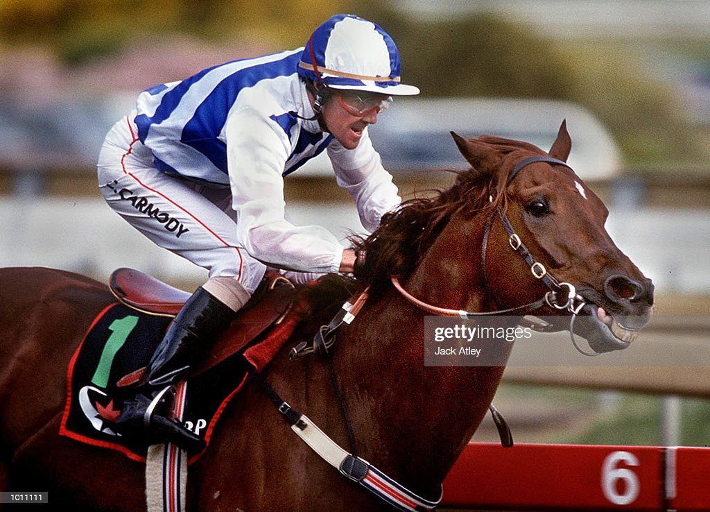 No. 1, Intergaze, ridden by Craig Carmody crosses the line to win the Group One Underwood Stakes race six at Caulfield racecourse, Melbourne, Australia. Mandatory Credit: Jack Atley/ALLSPORT