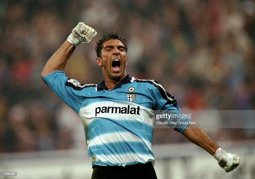 Parma's Gianluigi Buffon celebrates during the Serie A match between Inter Milan and Parma played at the San Siro in Milan Italy Inter won the match...