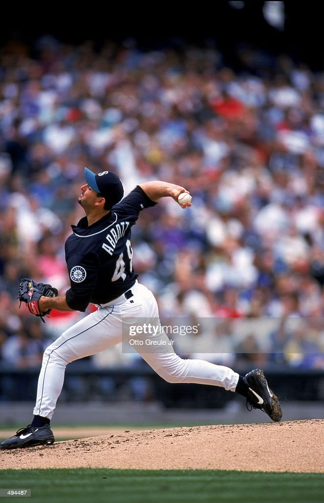 Paul Abbott of the Seattle Mariners winds back to pitch the ball during a game against the Boston Red Sox at the Safeco Field in Seattle Washington...