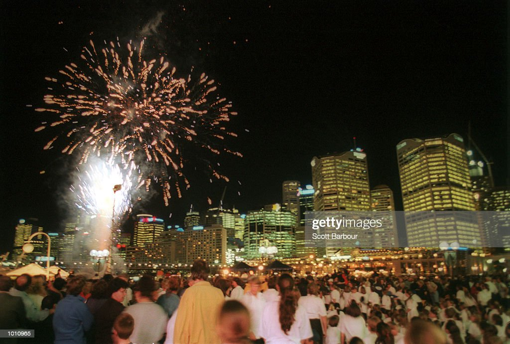 People watch a fireworks display during the celebrations of the 2000 Sydney Olympics with one year to go,Sydney Australia. Mandatory Credit: Scott Barbour/ALLSPORT