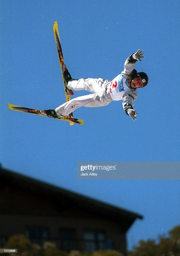 SERIES - Veronica Brenner of Canada gets herself into trouble during her second jump during the second round of the 1999/2000 world cup aerials season, at Mount Buller, Australia. Brenner crashed heavily but was not seriously hurt and finished in eleventh place in the womens section. Mandatory Credit: Jack Atley/ALLSPORT