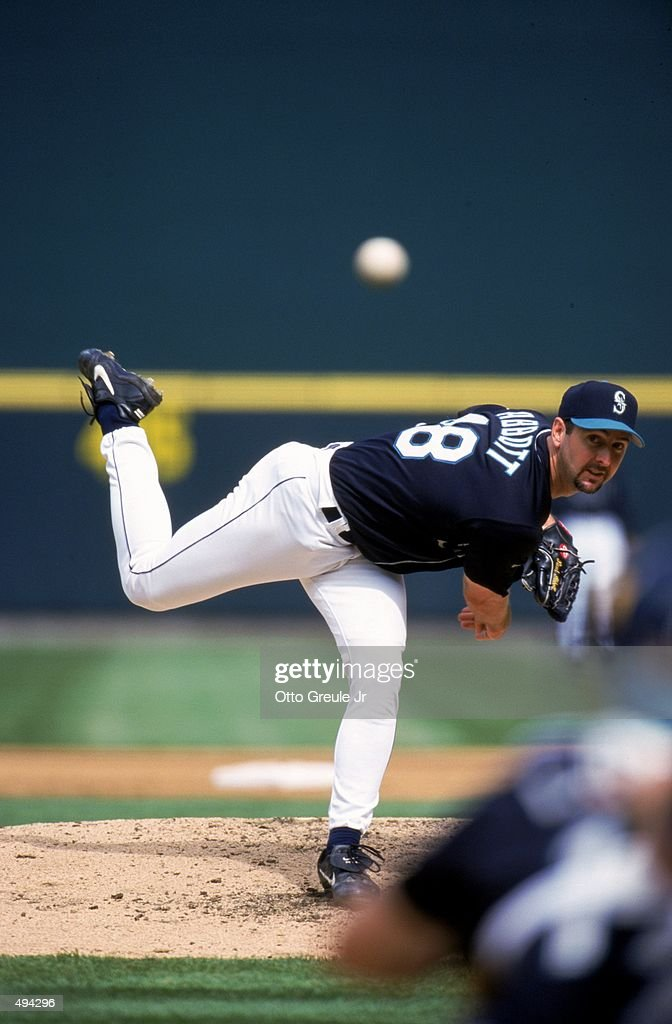 Pitcher Paul Abbott of the Seattle Mariners pitches the ball during the game against the Boston Red Sox at Safeco Field in Seattle Washington The Red...