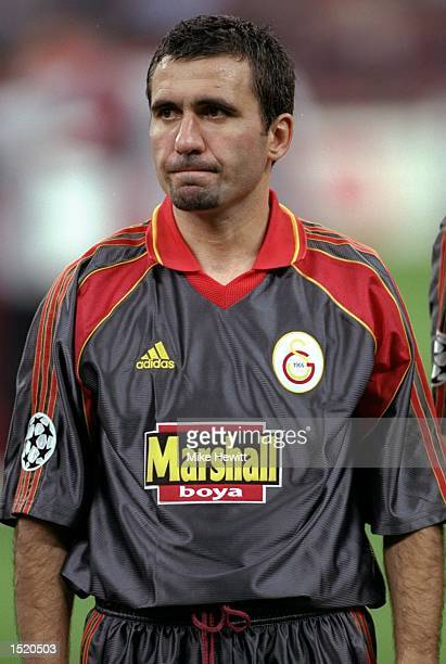 Portrait of Gheorghe Hagi of Galatasaray lining up to face AC Milan for the Champions League match at the San Siro in Milan Italy Milan won 21...