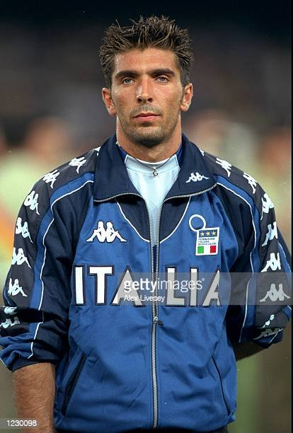 Portrait of Italy keeper Gianluigi Buffon lining up for the European Championship qualifier against Denmark at the San Paolo Stadium in Naples Italy...