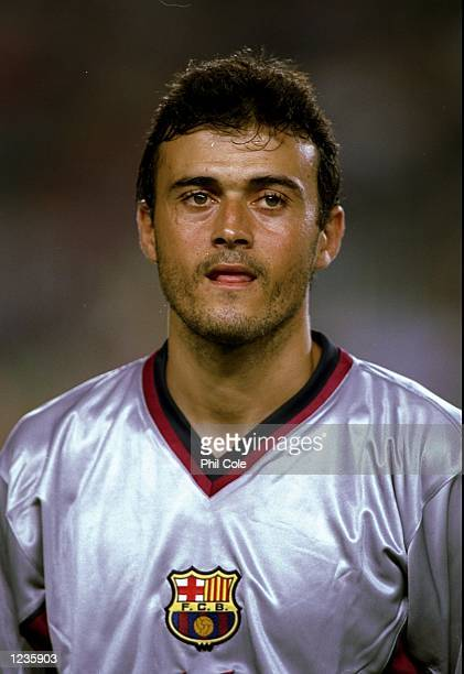Portrait of Luis Enrique of Barcelona lining up to face Fiorentina in the UEFA Champions League group B match at the Nou Camp in Barcelona Spain...
