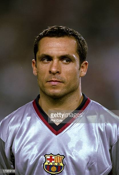 Portrait of Sergi Barjuan of Barcelona lining up to face Fiorentina in the UEFA Champions League group B match at the Nou Camp in Barcelona Spain...
