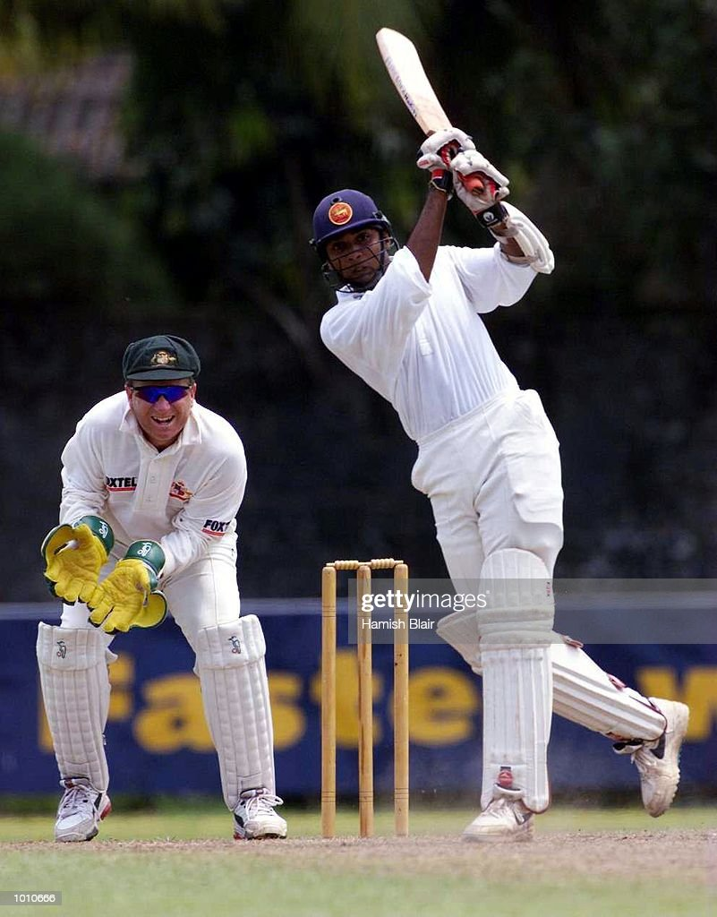 Pradeep Hewage of the Board XI on the attack with Ian Healy of Australia looking on, during day three of the tour match between the Sri Lanka Board XI and Australia at Saravanamuttu Stadium, Colombo, Sri Lanka. Mandatory Credit: Hamish Blair/ALLSPORT
