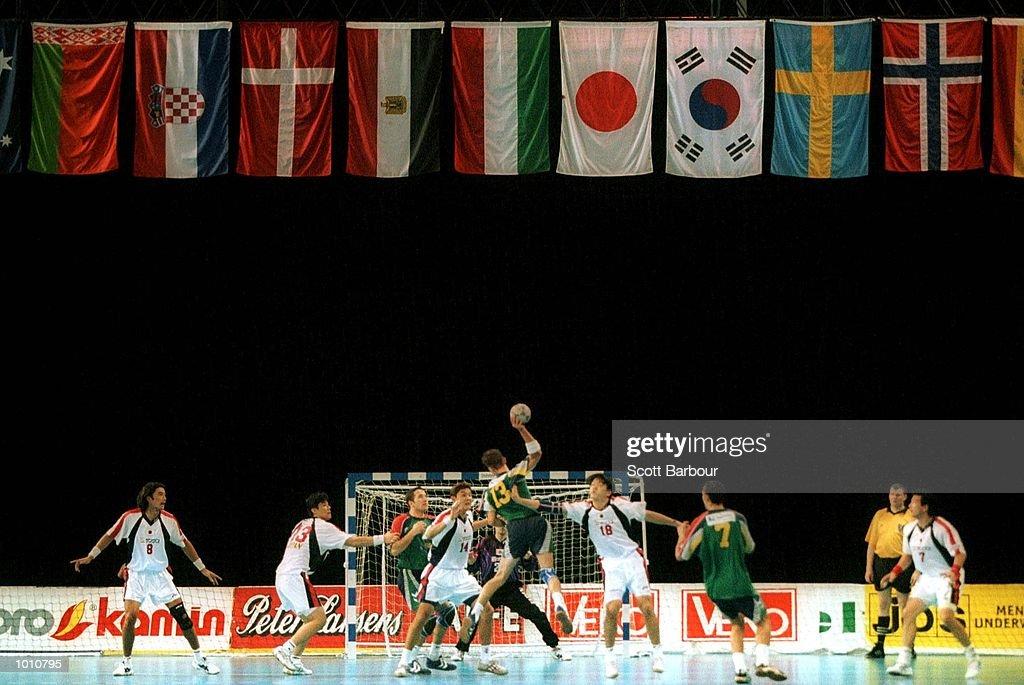 R. Garnett of Australia jumps to shoot at goal during the match between Australia v Japan at the Southern Cross International Handball Challenge, at the Buring Pavilion, Sydney Olympic Park Homebush, Sydney Australia. Mandatory Credit: Scott Barbour/ALLSPORT