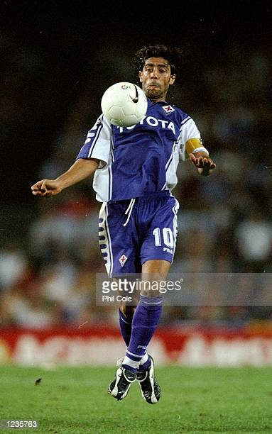 Rui Costa of Fiorentina chests the ball against Barcelona during the UEFA Champions League group B match at the Nou Camp in Barcelona Spain Barcelona...