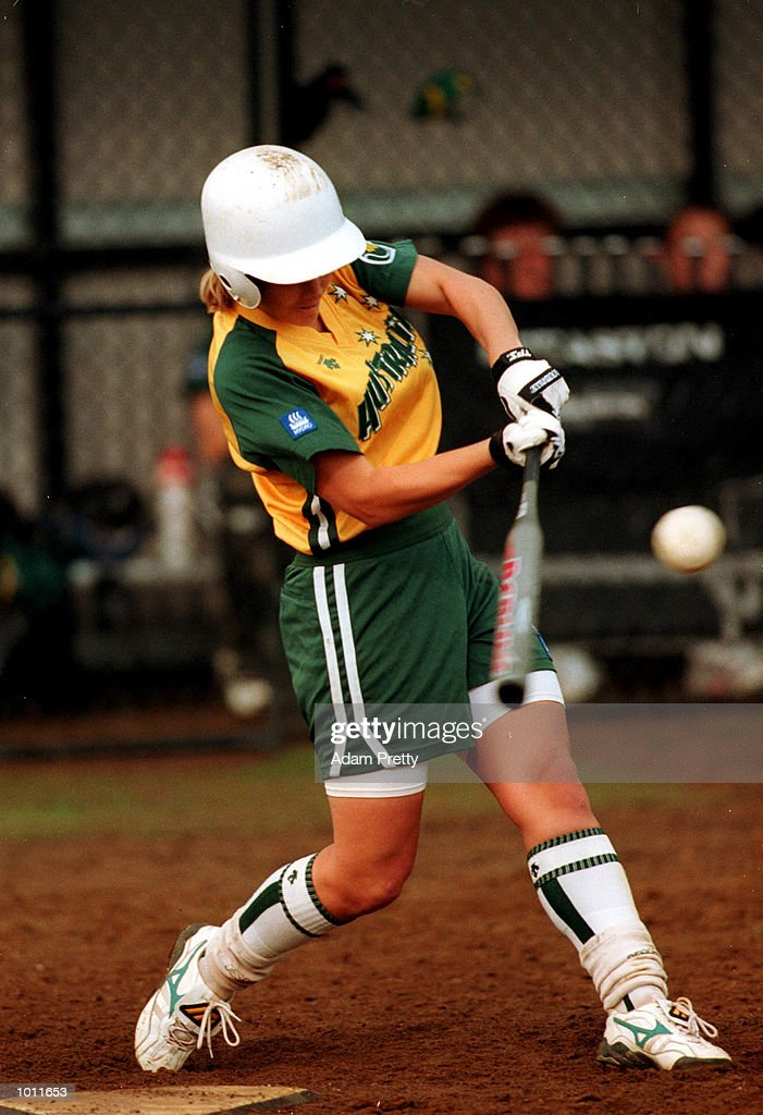 Sally McCreedy of Australia in action during the test match between Australia v New Zealand at the NSW Softball complex in Parklea,Sydney Australia. Mandatory Credit: Adam Pretty/ALLSPORT