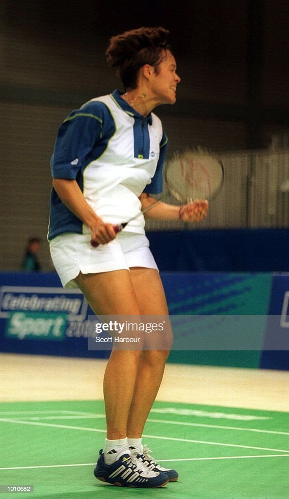 Sandra Dimbour of France celebrates after defeating Brenda Beenhakker of the Netherlands in the womens singles final at the Australian Badminton International, a SOCOG Olympic test event, Pavilion 4, Olympic Park, Homebush, Sydney, Australia. Mandatory Credit: Scott Barbour/ALLSPORT