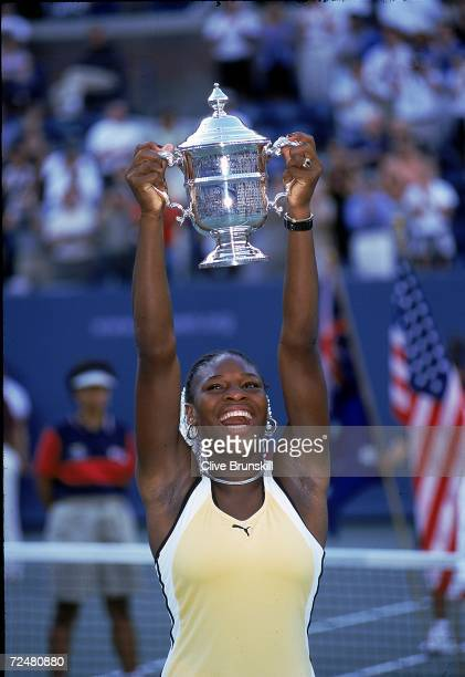 Serena Williams of the USA holds up her trophy after winning the Womens Singles during the US Open at the USTA National Tennis Courts in Flushing...