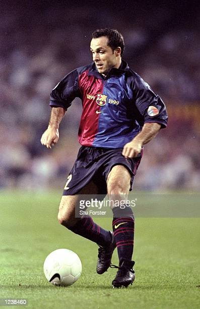 Sergi Barjuan of Barcelona in action during the Barcelona v Arsenal UEFA Champions League Group B match played at the Nou Camp Barcelona Spain The...