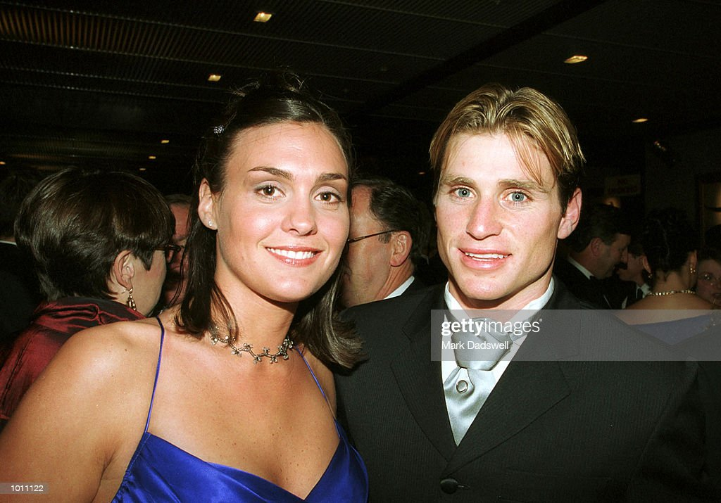 Shane Crawford of the Hawthorn football club and partner Olivia Anderson pose for photographs during the Brownlow medal presentation night at the Horden Pavilion function centre,Moore Park Sydney Australia. Mandatory Credit: Mark Dadswell/ALLSPORT