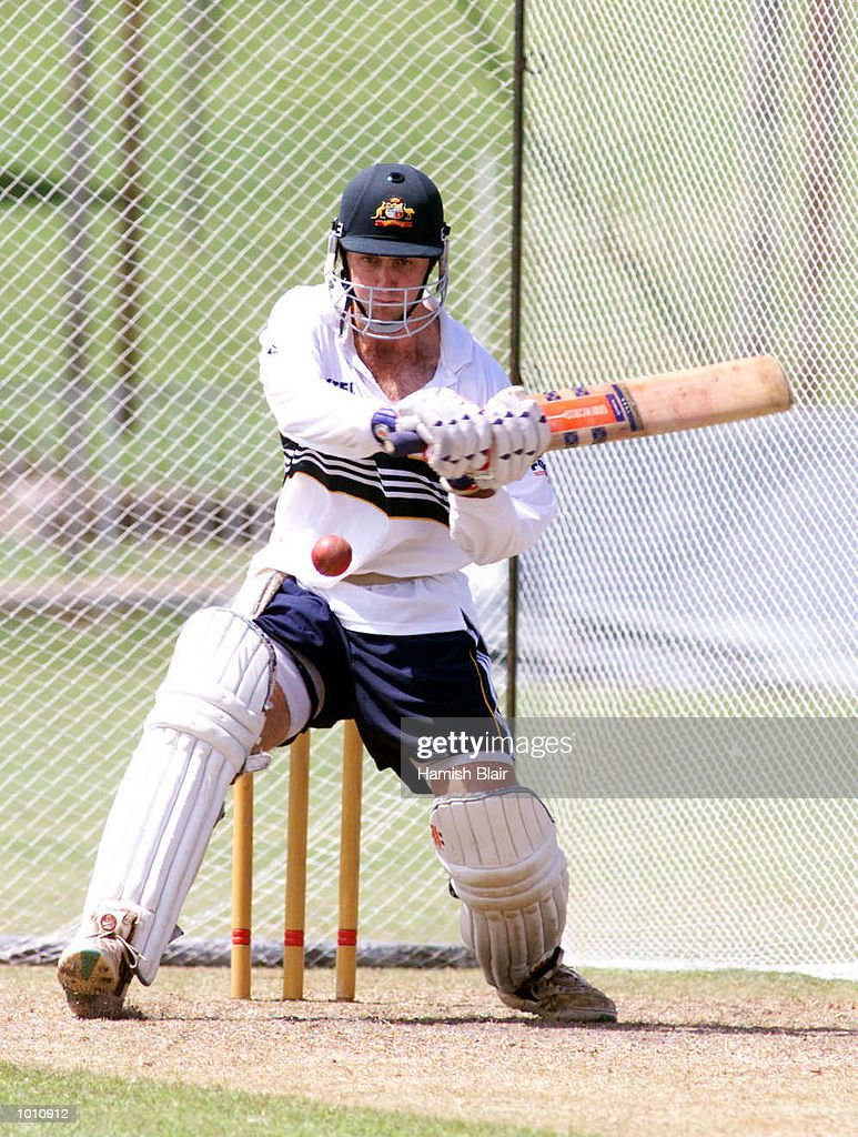 Simon Katich of Australia prepares to sweep, during training at Singhalese Sports Club, Colombo, Sri Lanka. Mandatory Credit: Hamish Blair/ALLSPORT