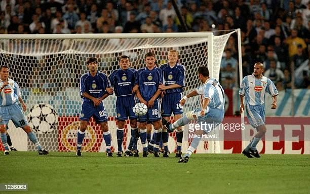 Sinisa Mihajlovic of Lazio takes a freekick against Dynamo Kiev during the UEFA Champions League group A match at the Stadio Olimpico in Rome Italy...