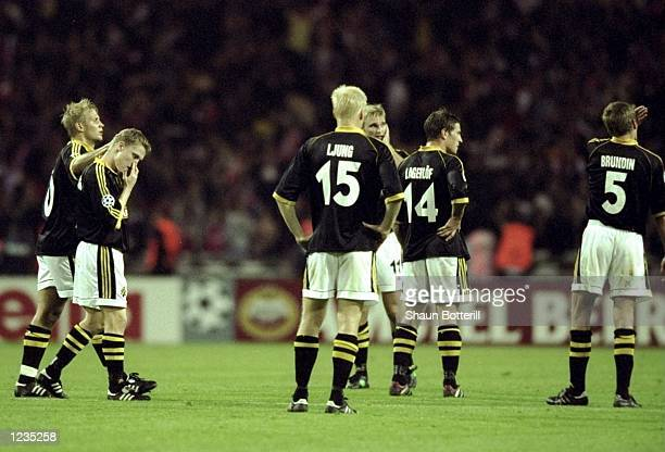 Solna players look in despair as they concede late goals during the UEFA Champions League match between Arsenal v AIK Solna played at Wembley Stadium...