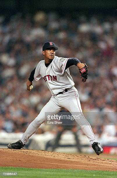 Starting pitcher Pedro Martinez of the Boston Red Sox pitches against the New York Yankees at Yankee Stadium in Bronx New York The Red Sox defeated...