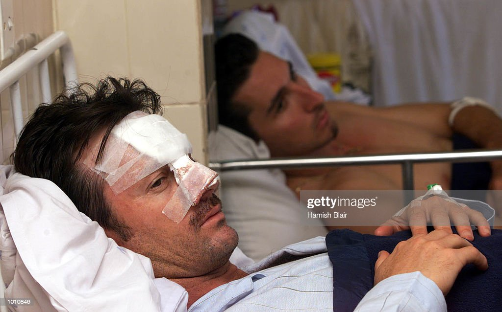 Steve Waugh and Jason Gillespie of Australia wearing the wounds of their collision yesterday, Colombo Hospital, Colombo, Sri Lanka. Mandatory Credit: Hamish Blair/ALLSPORT