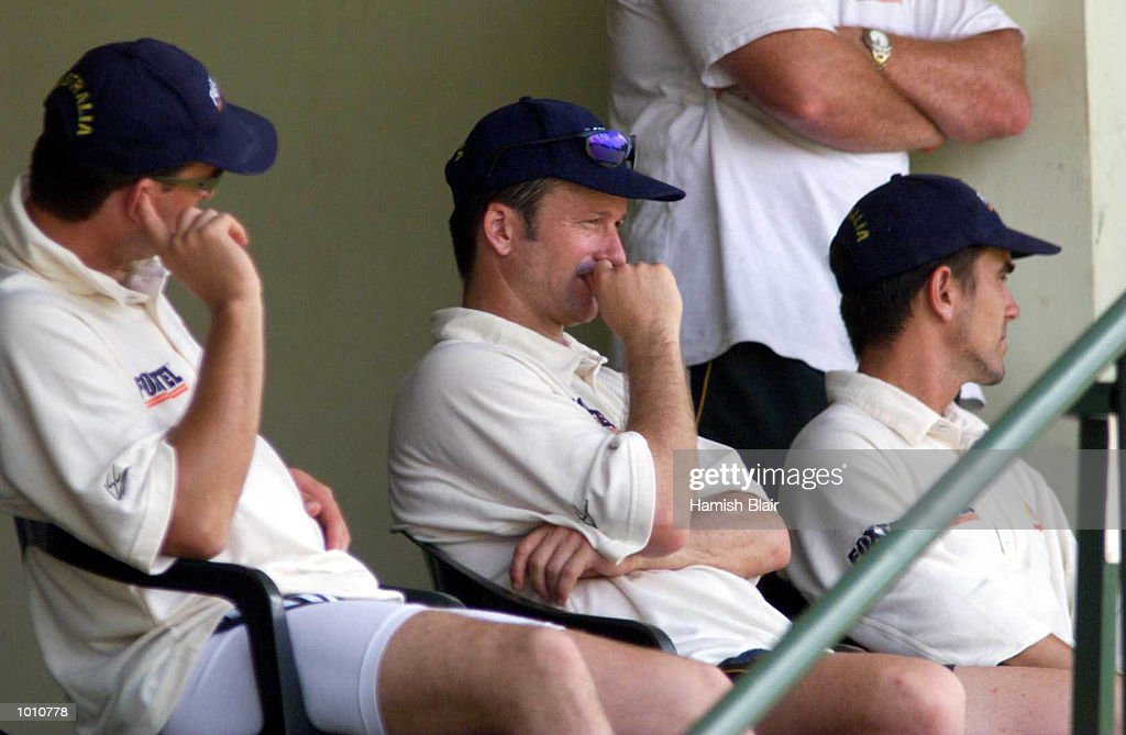 Steve Waugh (middle) captain of Australia looks on as Australia loses 7 wickets in the first session, during day one of the First Test between Sri Lanka and Australia at Asgiriya Stadium, Kandy, Sri Lanka. Mandatory Credit: Hamish Blair/ALLSPORT