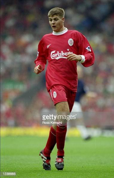 Steven Gerrard of Liverpool in action during his team's 32 Premiership loss to Manchester United The match was played at Anfield in Liverpool England...