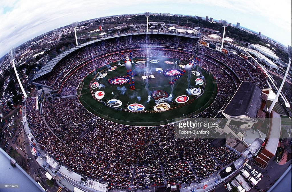 The Pre-match entertainment as seen from a light tower, in the AFL Grand Final match between the Kangaroos and Carlton, played at the Melbourne Cricket Ground, Melbourne, Australia. The Kangaroos defeated Carlton. Mandatory Credit: Robert Cianflone/ALLSPORT