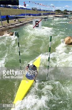 A view of David Heran of the USA as he paddles the course during Kayak Training for the 2000 Sydney Olympics at the Penrith White Water Stadium in...