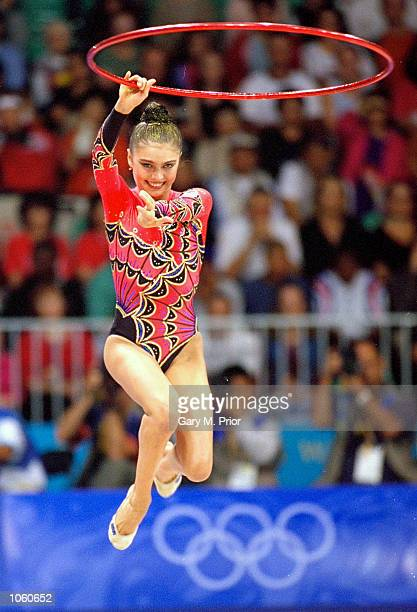 Alina Kabaeva of Russia in action during the Rhythmic Gymnastics in Pavilion 3 of the Sydney Showground on Day 13 of the Sydney 2000 Olympic Games in...