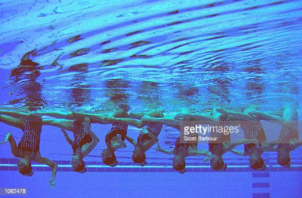 An underwater view of the USA Synchronised Swimming Team in action in the Team Technical Routine at the Sydney International Aquatic Centre on Day 13...