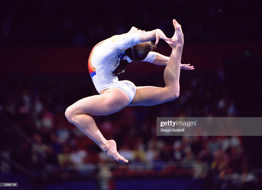 Andreea Raducan of Romania in action during the Womens Gymnastics Floor Exercise Final at the Sydney Superdome on Day Ten of the Sydney 2000 Olympic Games in Sydney, Australia. \ Mandatory Credit: Shaun Botterill /Allsport
