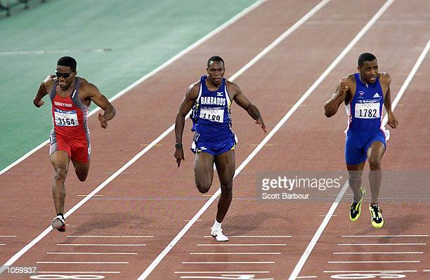 Ato Boldon of Trinadad on his way to a Bronze Medal Obadele Thompson of Barbados finished fourth and Darren Campbell of Great Britain wins a Silver...