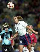 Brandi Chastein of the USA wins a header from goalkeeper Ingeborg Hovland of Norway in the womens Gold medal soccer match played at the Sydney...