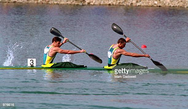 Brian Morton and Luke Young of Australia in action during the Men's K2 1000m Canoe/Kayak held at the Sydney International Regatta Centre during the...