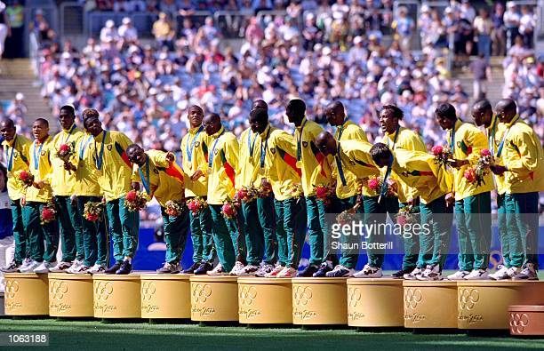 Cameroon on the podium after winning gold in the Mens Football Final against Spain at the Olympic Stadium on Day 15 of the Sydney 2000 Olympic Games...
