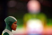 Cathy Freeman of Australia before the Women's 400m final held at Olympic Stadium during the Sydney 2000 Olympic Games Sydney Australia Mandatory...