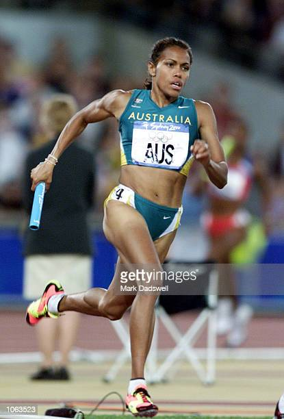 Cathy Freeman of Australia in action during the final of the Women's 4 x 400m Relay at the Sydney 2000 Olympic Games held at Stadium Australia...