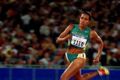 Cathy Freeman of Australia in action during the Women's 400m held at Olympic Stadium during the Sydney 2000 Olympic Games Sydney Australia Mandatory...