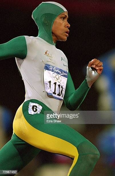 Cathy Freeman of Australia in action in the Womens 400m Final at the Olympic Stadium on Day 10 of the Sydney 2000 Olympic Games in Sydney Australia...