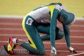 Cathy Freeman of Australia in the blocks on her way to winning gold in the Womens 400m Final during the 2000 Sydney Olympic Games at the Olympic...