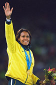 Cathy Freeman of Australia wins Gold in the Womens 400m Final at the Olympic Stadium on Day Ten of the Sydney 2000 Olympic Games in Sydney Australia...
