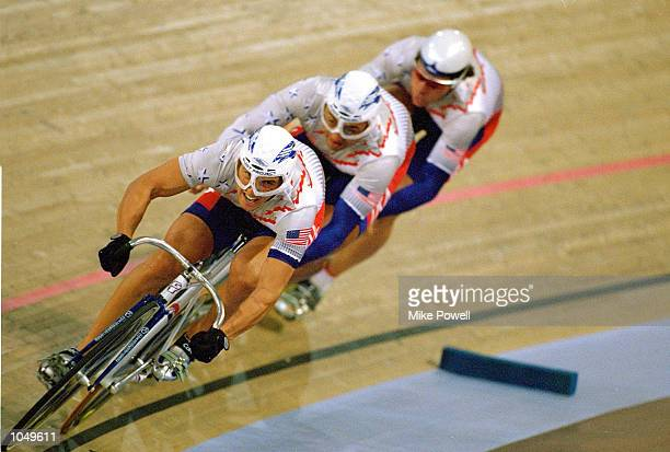 Christian Arrue leads out the USA Men's Olympic Sprint team during Track Cycling Qualifying at the Dunc Gray Velodrome on Day Two of the Sydney 2000...