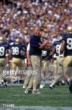 Coach Bob Davie of the Notre Dame Fighting Irish yells during the game against theTexas AM Aggies at Notre Dame Stadium in South Bend Indiana The...