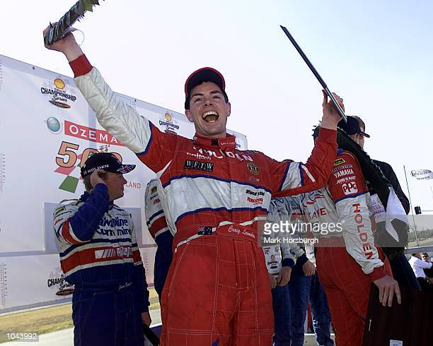 10 Sep 2000 Craig Lowndes celebrates after driving a fantastic race to win the OzEmail Queensland 500 with codriver Mark Skaife in their Holden...