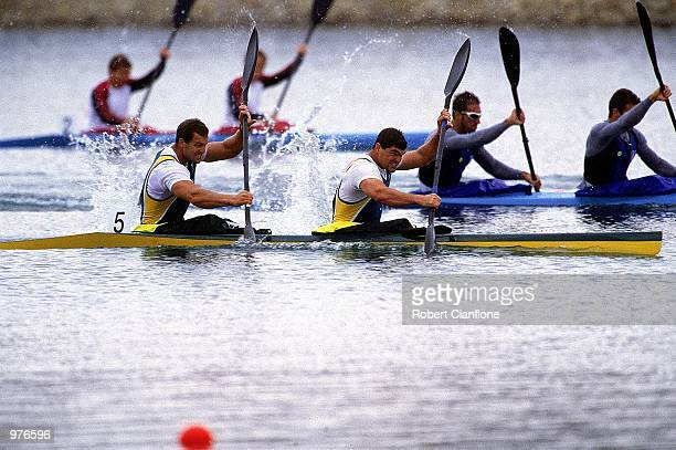 Daniel Collins and Andrew Trim of Australia in action during the Men's K2 500m Canoe/Kayak held at the Sydney International Regatta Centre during the...
