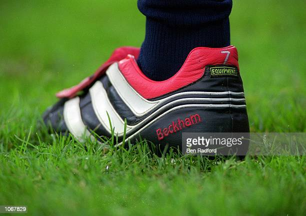 David Beckham of Manchester United boot during the UEFA Champions League match against PSV Eindhoven at the Philips Stadion in Eindhoven Holland PSV...