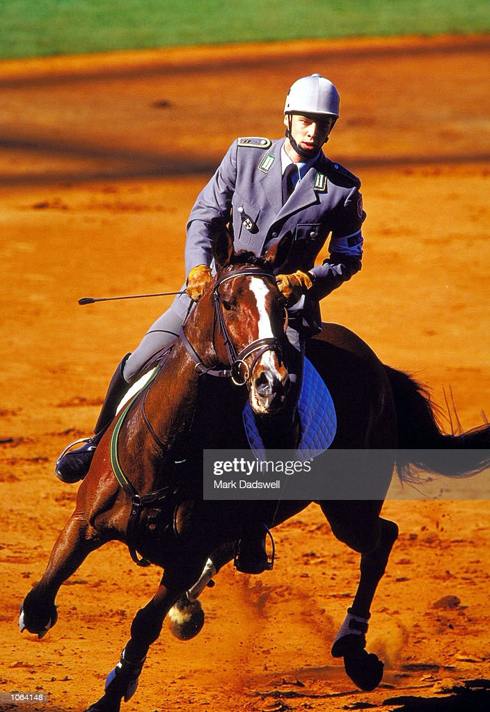Eric Walther of Germany in action during the Modern Pentathlon at the Sydney Showground Baseball Stadium on day 15 of the Sydney 2000 Olympic Games in Sydney, Australia. \ Mandatory Credit: Mark Dadswell /Allsport