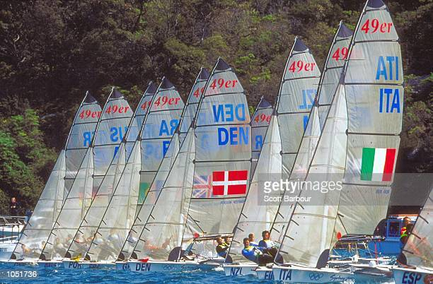 General view from the Open 49er Sailing Fleet Races at Rushcutters Bay on Day Five of the Sydney 2000 Olympic Games in Sydney Australia Mandatory...