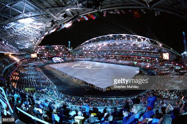 General view from the Opening Ceremony of the Sydney 2000 Olympic Games at the Olympic Stadium in Homebush Bay Sydney Australia Mandatory Credit...