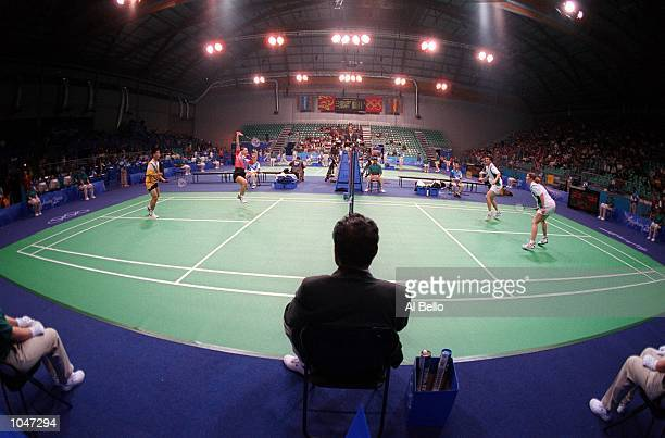 General view of badminton courts during the 2000 Olympic Games at the Sydney Olympic Pavillion in Sydney Australia Mandatory Credit Al Bello/ALLSPORT
