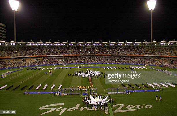 General View of the opening ceremony at the 2000 Olympics soccer match between Cameroon and Kuwait at the Gabba in Brisbane Australia DIGITAL IMAGE...